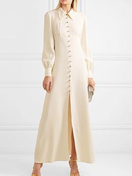 Boutique Diamond Buttons Split Hem Maxi Dress