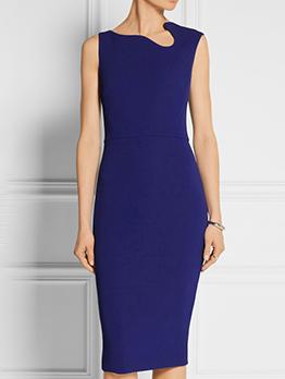 Irregular Neck Design Slim Sleeveless Dress