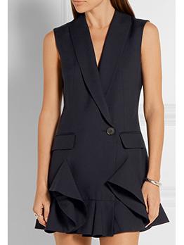 One Button Ruffles Hem Black Sleeve Dress