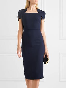 Solid Color Knee Length Short Sleeve Dress