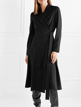 Minimalist Tie-Wrap Lapel Long Sleeve Dress