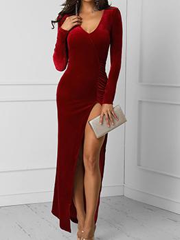 V Neck Velvet Split Long Sleeve Maxi Dress