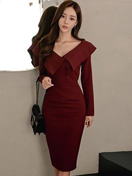 Elegant V Neck Fitted Long Sleeve Burgundy Dress