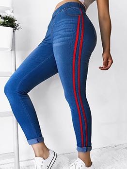 Striped Sexy Mid Waist Skinny Jeam