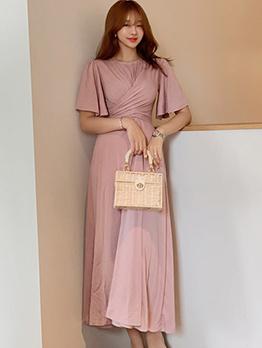 Fashion Large Hem Tie-Wrap Blush Maxi Dress