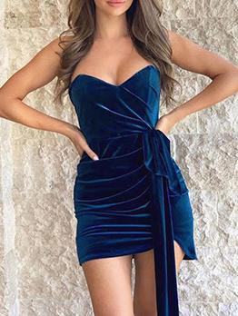 Sexy Tie-Wrap Transparent Straps Velvet Dress