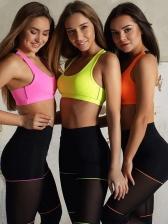 Gauze Patchwork High Waist Yoga Set For Women