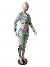 Contrast Color Long Sleeve 2 Piece Pants Set