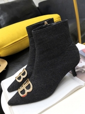 Denim Kitten Heel Ankle Boot