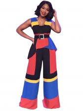Casual Contrast Color Sleeve 2 Piece Pants Set