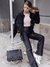 Fashion Solid Color Ladies Winter Jacket
