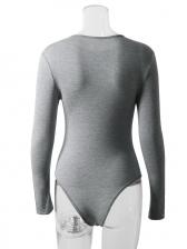 Solid Crew Neck Long Sleeve Bodysuit