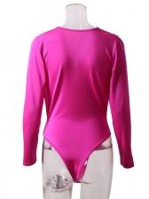 V Neck Solid Long Sleeve Bodysuit For Women
