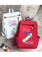 Trendy Letter Skateboard Printed Unisex Backpack
