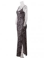 V Neck Leopard Printed High Split Slip Maxi Dress