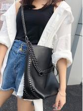 Rivets Decor Solid Color Chain Shoulder Bag