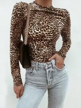 Leopard Printed Long Sleeve Bodysuit For Women
