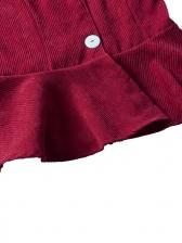 V Neck Ruffled Long Sleeve Ladies Blouse