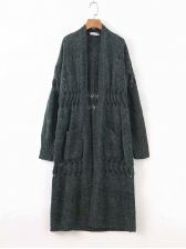 Knitting Long Sleeve Hollowing Out Cardigan Coat