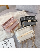 Rivets Letter Printed Transparent 2 Piece Chain Bags