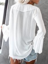 V Neck Ruffles Flare Sleeve Ladies Blouse