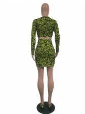 Hollow Out Printing Fitted Crop Top And Skirt