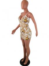 Sexy Deep V Neck Printed Irregular Sleeveless Dress