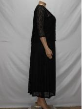 Plus Size Black Sleeveless Maxi Dress With Lace Coat