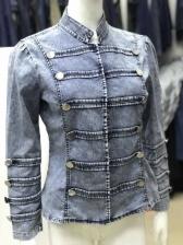Fashion Stand Collar Fastener Denim Jackets
