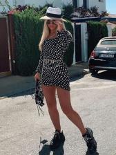 Square Neck Bodycon Polka Dots Dress
