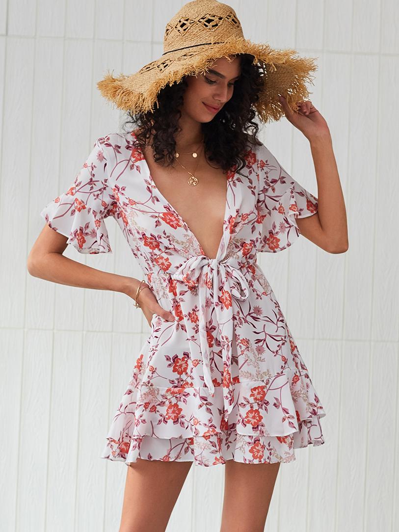 Floral Front Tie Short Sleeve Summer Dresses