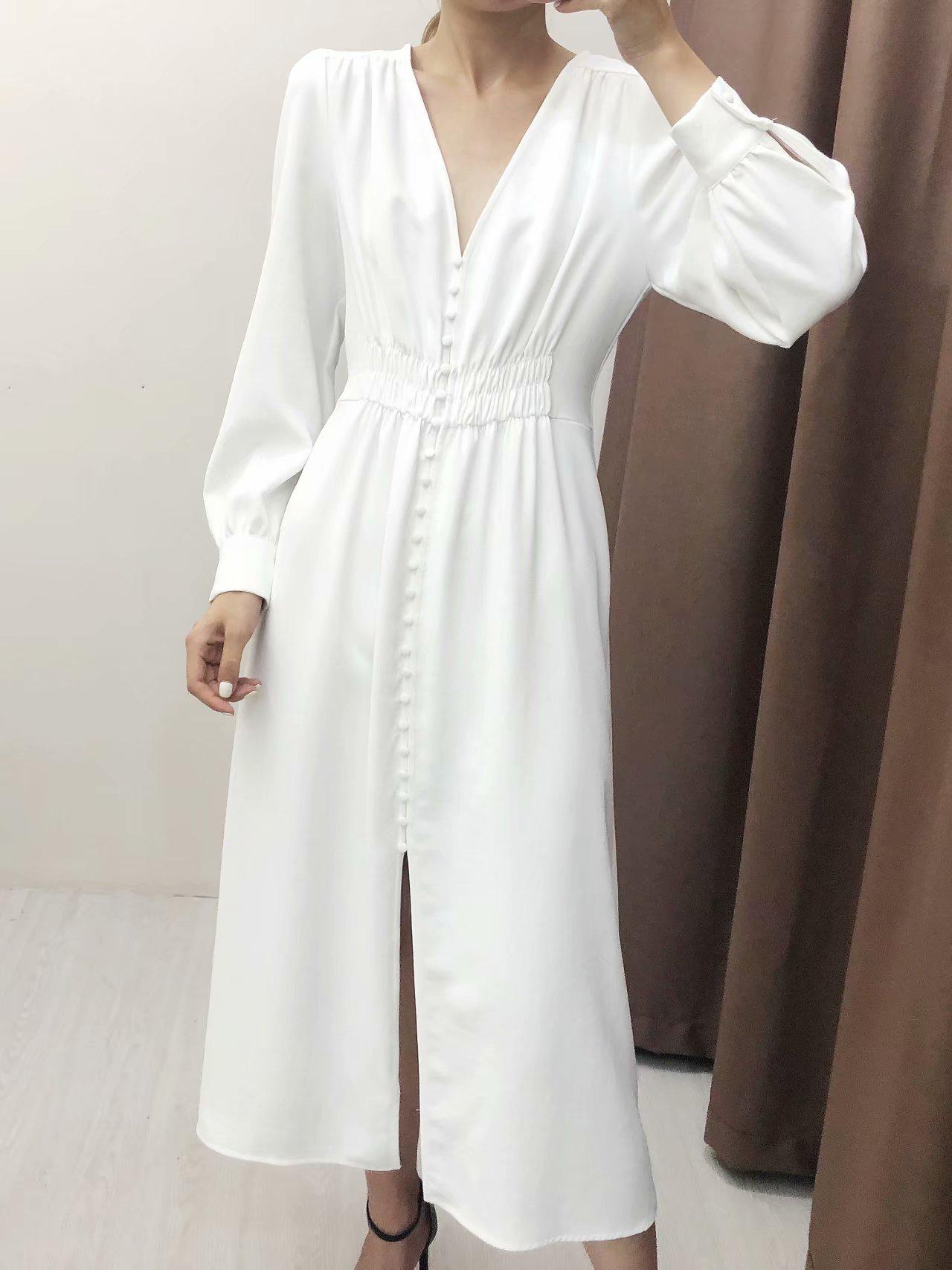 Minimalist V Neck Single-Breasted White Dresses