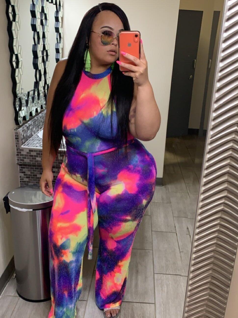 Stylish Tie Dye Off Shoulder Jumpsuits For Women