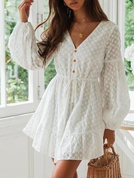 Backless Smart Waist Jacquard Weave White Dress
