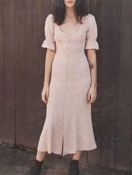 Polka Dots Square Neck Button Down Midi Dress