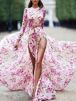 Puff Sleeve Floral Split Hem Maxi Dress