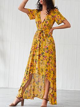 Bohemian Short Sleeve v Neck Maxi Dresses