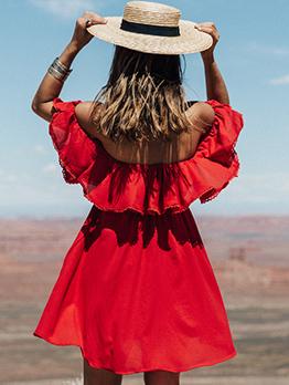 Solid Off Shoulder Short Sleeve Summer Dresses
