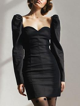Slim Fit Solid Puff Long Sleeve Dress