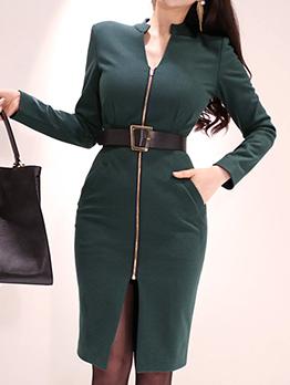 V Neck Zipper Up Long Sleeve Bodycon Dress