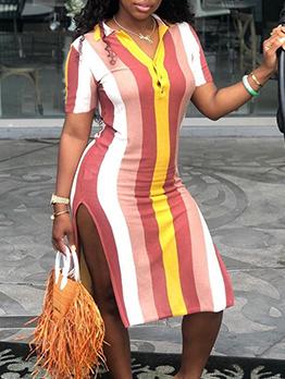 Colorful Striped Slit Short Sleeve Summer Dresses