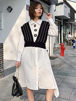 Minimalist Turndown Neck White Shirt Dresses
