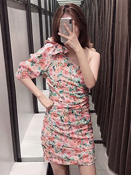 Inclined Shoulder Bow Decor Flower Print Summer Dress