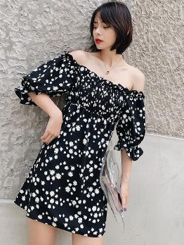 Summer Elastic Bust Floral Off The Shoulder Dress
