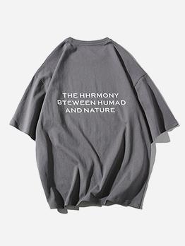 Simple Design Letter Printing Men Loose T-shirt
