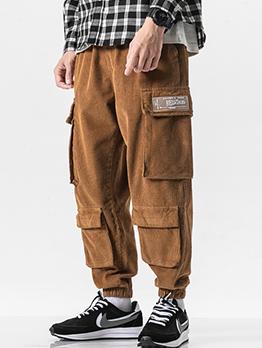 Multiple Pockets Corduroy Men Jogger Pants