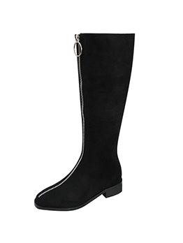 Solid Zipper Up Low Heel Mid Calf Boots