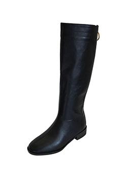 Fashion Low Heel PU Mid Calf Boot