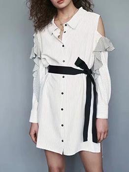 Cold Shoulder Tie-Wrap Striped Shirt Dress