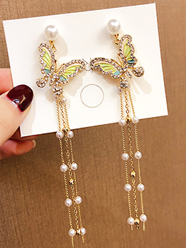 Diamante Butterflies Long Tassel Pearl Earrings